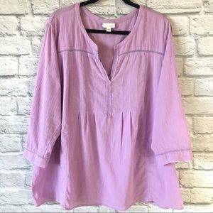 J. Jill 3/4 Sleeve Light Purple Pleated Blouse XL